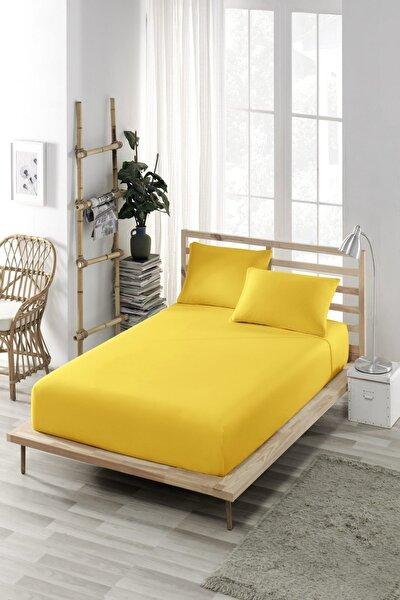 ELY PARKER Lastikli Çarşaf (Nevresim Kumaşı) Pamuklu Yüksek Yataklara Uygun Sarı Tek-Çift Kişilik