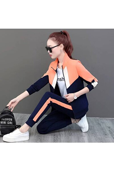 DRK EKSPRES Kadın Bloglu Yanı Şeritli Ikili Eşofman Takımı (orange)