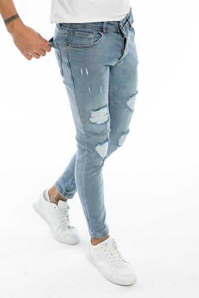 Dr Dnm Remix Erkek Jeans Skinny Fit Likralı Açık Mavi Dizi Yırtık Lazerli