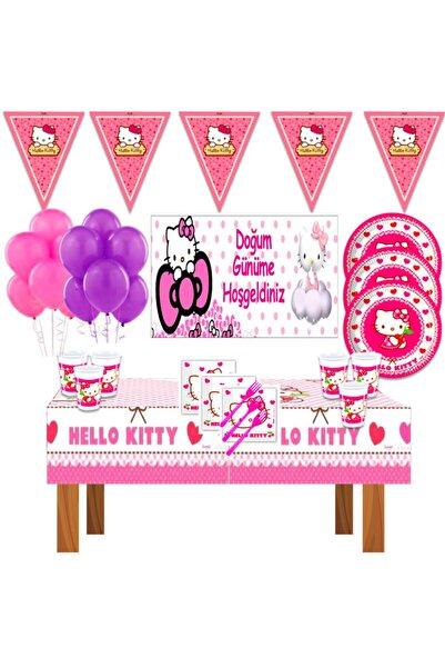 Hello Kitty Afişli Doğum Günü Parti Malzemeleri Süsleri Süsleme Seti 16 Kişilik