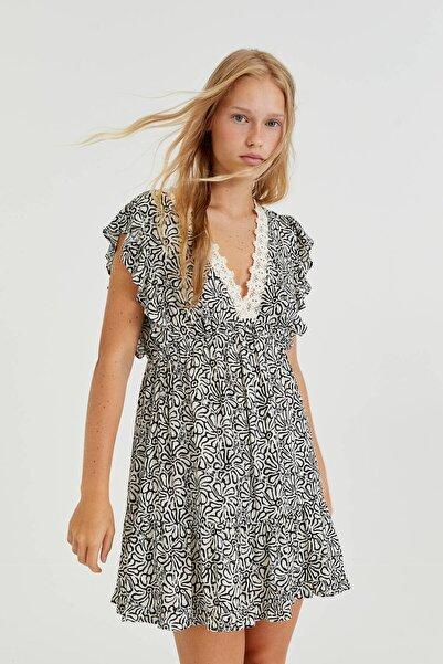 Pull & Bear Kroşe Yaka Kısa Rustik Elbise