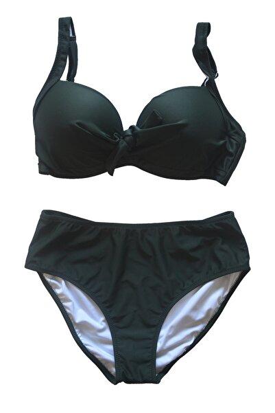 Endeep Kadın Büyük Beden Balenli Koyu Yeşil Bikini Takımı