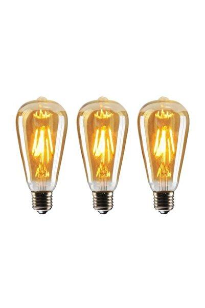 EDİSON St64 Flamanlı 6w Rustik Led Ampul 3'lü Paket Dekoratif Vintage Aydınlatma 6w St64 3lü Amber Rengi