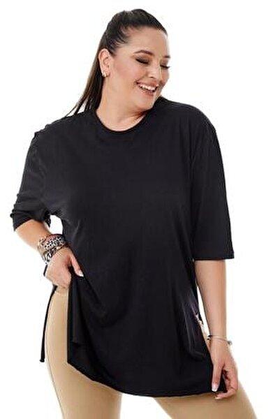 Kadın  Büyük Beden Siyah Yırtmaçlı Basic Bluz