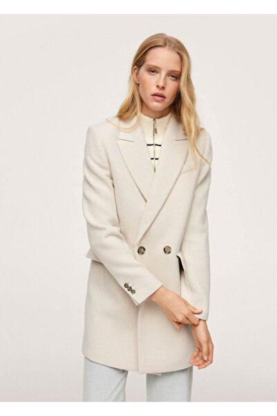 MANGO Woman Kadın Açık/Pastel Gri Kruvaze Kesimli Yün Palto