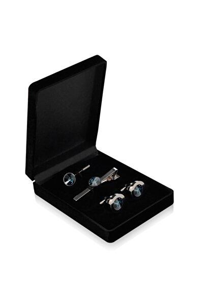 zekupp Kol Düğmesi Kravat İğne Seti - Gece Mavisi