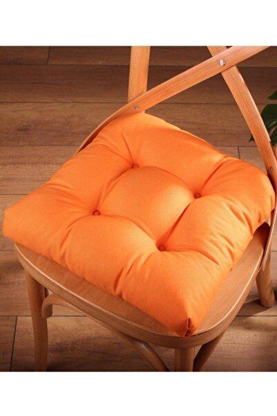 ALTINPAMUK Pofidik Turuncu Sandalye Minderi Özel Dikişli Bağcıklı 40x40cm