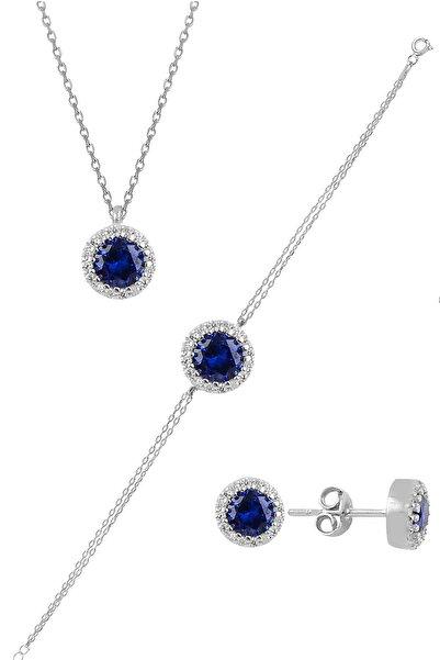Söğütlü Silver Gümüş Rodyumlu Zirkon Ve Safir Taşlı Pırlanta Modeli Üçlü Set