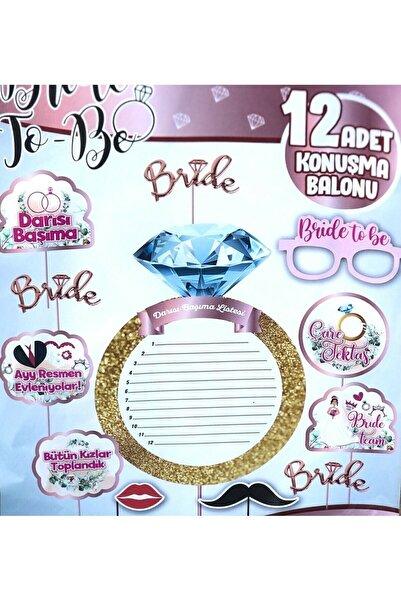 Aşkın Parti Evi Bride To Be Temalı 12 Adet Konuşma Balonu Darısı Başıma Listesi Bekarlığa Veda Partisi Süs Seti