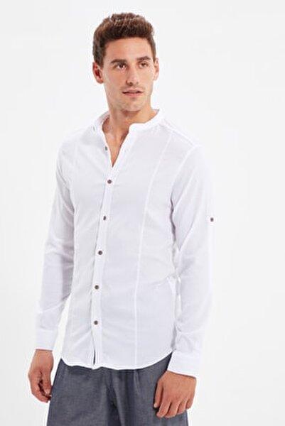 Beyaz Erkek Hakim Yaka Bengalin Kuplu Süper Slim Fit Gömlek TMNSS20GO0121