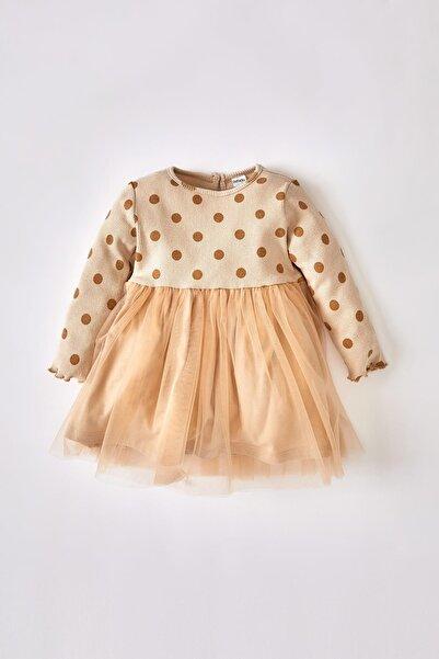 DeFacto Kız Bebek Puantiyeli Tüllü Uzun Kollu Elbise V4846A221AU