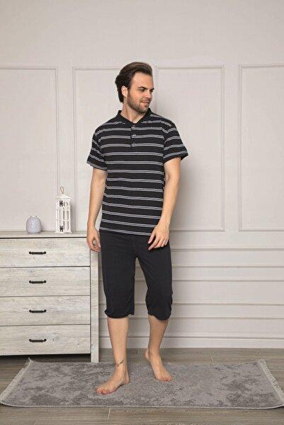 Tutkun Siyah Çizgili Büyük Beden Erkek Pijama Takımı 11490
