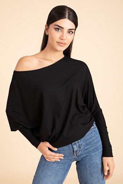 M2K Kadın Siyah Yarasa Kol Turlu Viskon Bluz