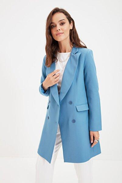 Trendyol Modest Mavi Çift Düğmeli Ceket TCTAW22CK0007