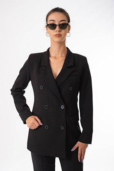 snc Kadın Ön Düğmeli Uzun Kol Blazer Ceket 3428lu21y Siyah