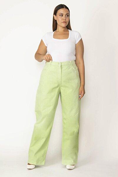 Şans Kadın Yeşil Rahat Kesim 5 Cepli Kot Pantolon 65N27621