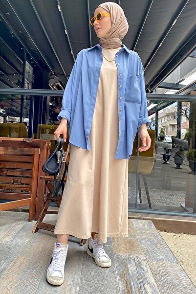 ALLDAY Bej Kolsuz Basic İçlik Elbise