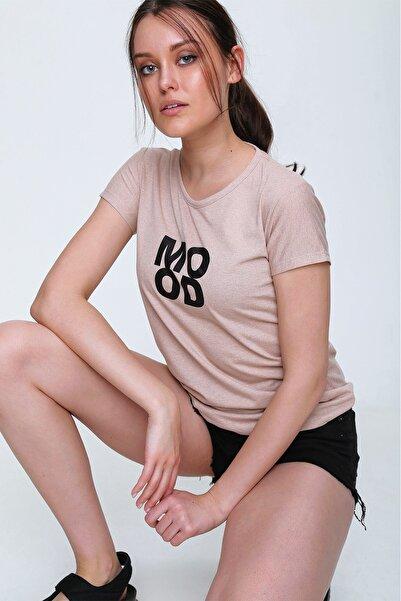 Trend Alaçatı Stili Kadın Bisküvi Bisiklet Yaka Baskılı T-Shirt ALC-GR00002