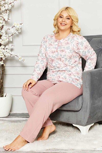 ALİMER Kadın Gülkurusu Büyük Battal Beden Pamuklu Mevsimlik Uzun Kol Pijama Takımı