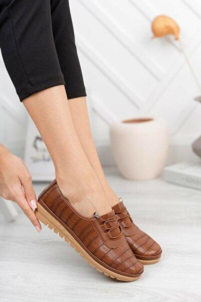 kısmetshoes Taba Kroko Ortopedik Kadın Ayakkabı