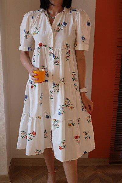 Tuğbanın Butiği Beyaz Çiçekli Önden Düğmeli Elbise