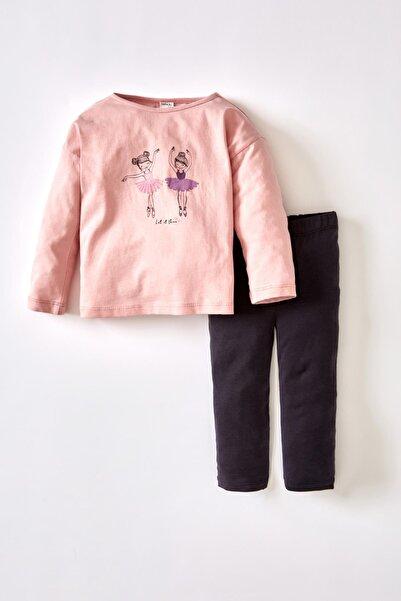 DeFacto Kız Bebek Balerin Kız Baskılı Pamuklu Uzun Kollu Tişört Ve Tayt Takımı V5371A221AUA