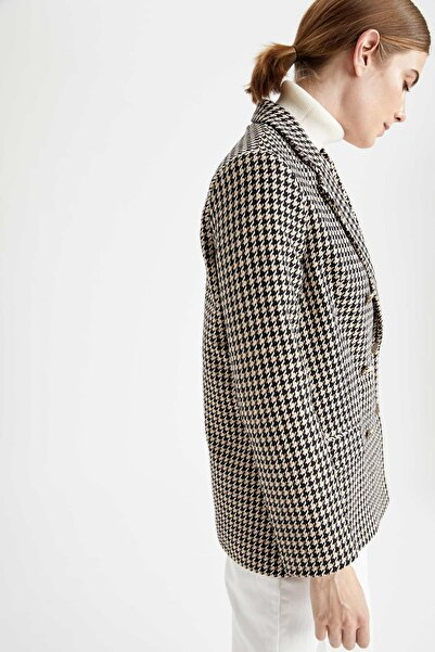DeFacto Oversize Fit Kaz Ayağı Desenli Dokulu Tuvit Blazer Ceket