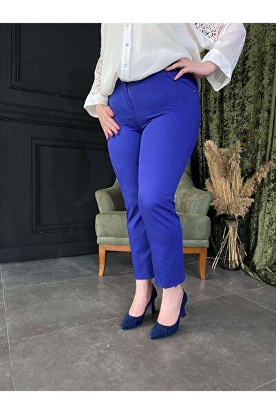 Roxxlen Kadın Mavi Büyük Beden Pantolon Lady - 3356