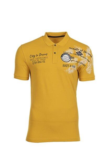 Arma Y0tyo2665 Erkek Baskılı Polo Yaka Slim Fit T-shirt Kısa Kollu Yazlık Tişört