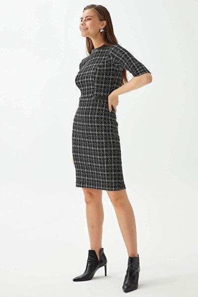 Chima Deri Garnili Kazayağı Elbise