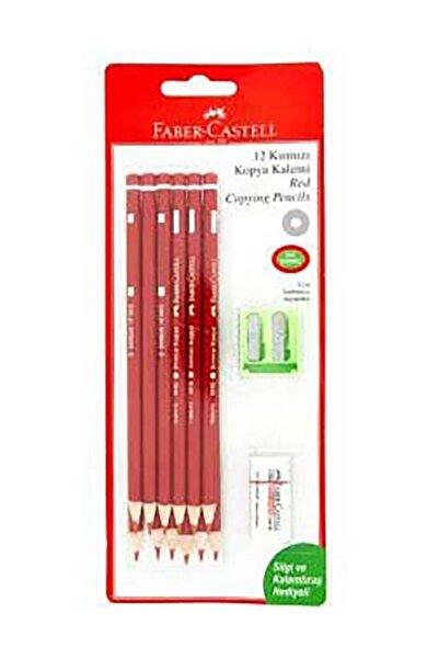 Faber Castell 12 Kırmızı Kopya Kalemi Silgi ve Kalemtraş