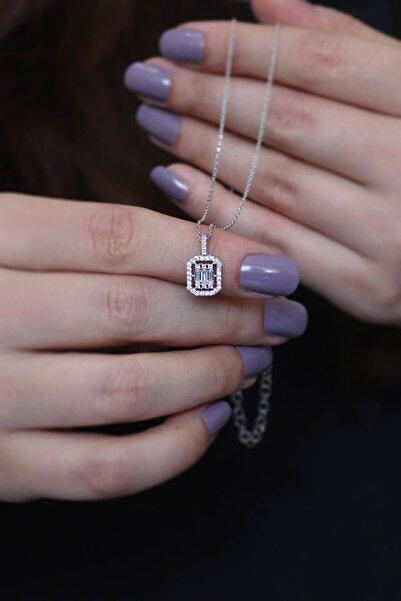 Parmas Design Kadın Baget Taşlı Tasarım 925 Ayar Gümüş Kolye