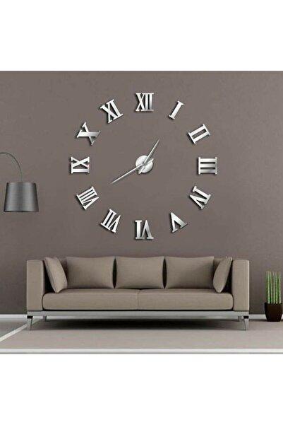 Gibi Shop Roma Rakamlı 3d Gümüş Pleksi Aynalı Duvar Saati