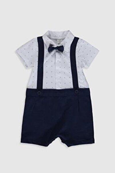 Erkek Bebek Beyaz Baskılı Lu7 Tulum