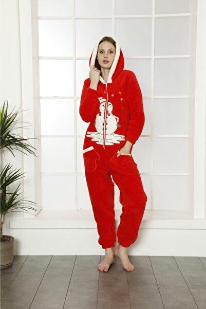 BOYRAZ Kadın Kırmızı Kapüşonlu Kışlık Polar Yetişkin Tulum B14085