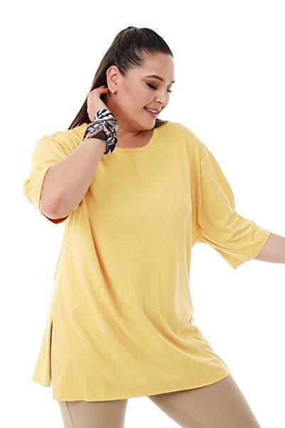 Siyezen Büyük Beden Sarı Yırtmaçlı Basic Bluz