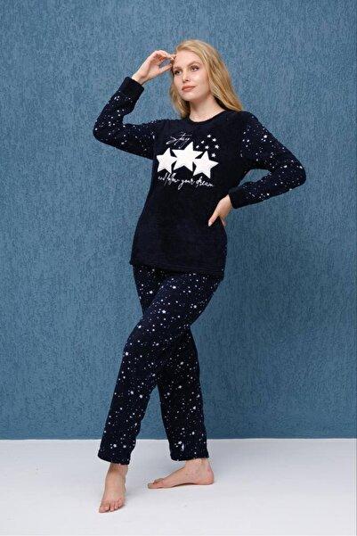 Meba Yeni Sezon Kadın Yıldız Desenli Lacivert Welsoft Uzun Kollu Peluş  polar Pijama Takımı 1115-29