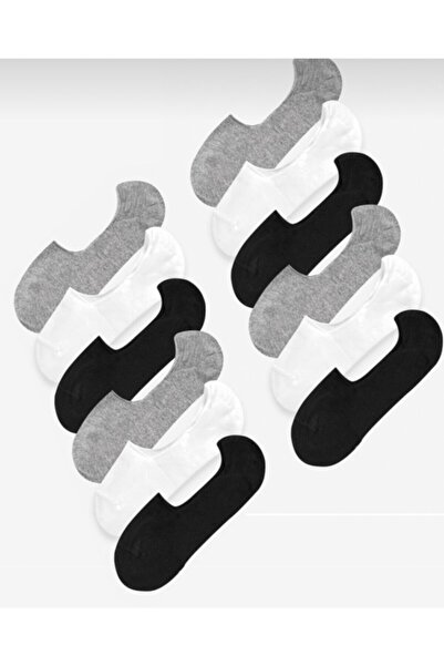 BYSNAPPY Erkek 12'li Karışık Paket Slikonlu Babet Çorap (100%pamuk)
