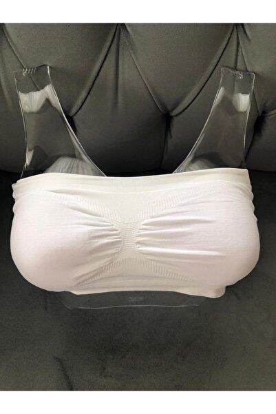 ECEM YILDIZ Kadın Straplez Seamless Büstiyer Beyaz
