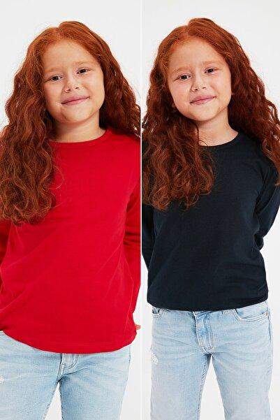 TRENDYOLKIDS Lacivert-Kırmızı 2'li Paket Basic Kız Çocuk Örme T-Shirt TKDAW22TS0044