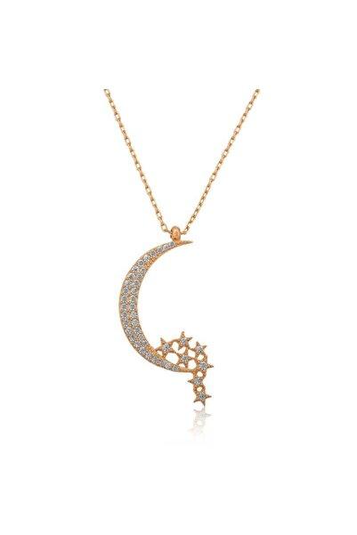Gumush Gümüş Ay Yıldızlı Kolye