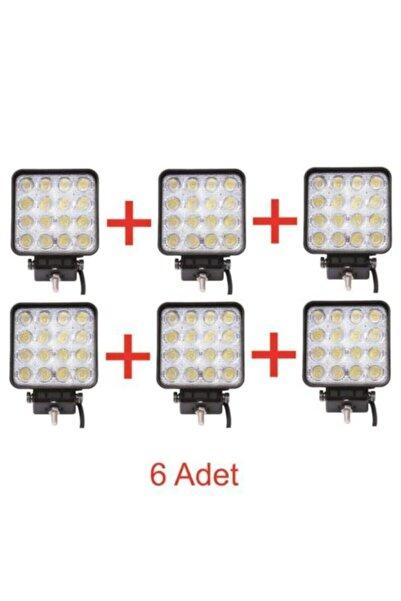 Light 6 Adet 16 Led Kare Off Road Traktör Tir Kamyon Sis Fari Sis Lambasi Çalisma Lambasi Projektör
