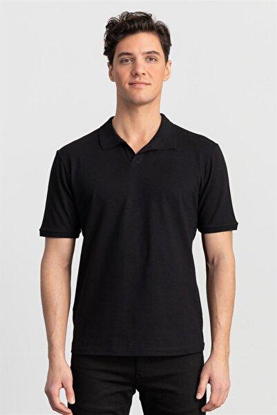 Tudors Slim Fit Dar Kesim Düz Düğmesiz Polo Yaka Erkek T-shirt
