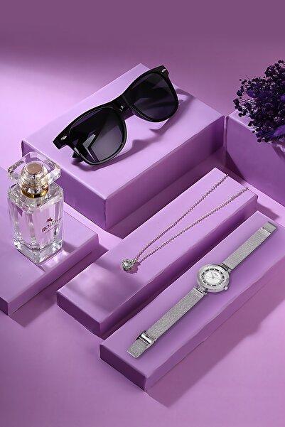 POLO Rucci Kadın Kol Saati Kutulu Set Zirkon Taşlı Tektaş Kolye 50 Ml Parfüm Ve Güneş Gözlüğü Seti