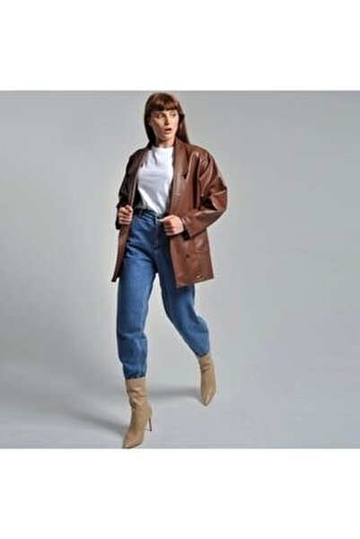 Suni Deri Taba Rengi Oversize Blazer Ceket