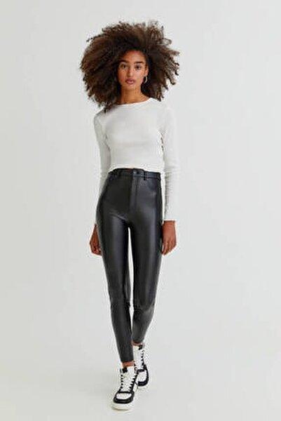 Siyah Skinny Fit Suni Deri Pantolon