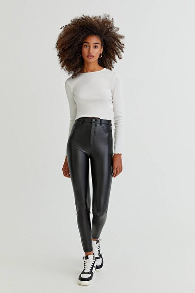 Pull & Bear Siyah Skinny Fit Suni Deri Pantolon