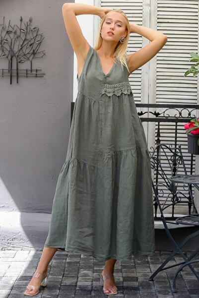 Chiccy Kadın Haki İtalyan Çiçek Kopanaki Detaylı Büzgü Dikişli Uzun Salaş Elbise M10160000EL94358