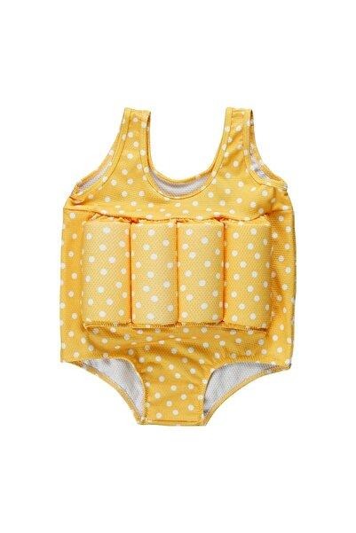 Baby Swim Up Kız Çocuk Sarı Puantiyeli Yüzme Öğreten Çocuk Mayosu