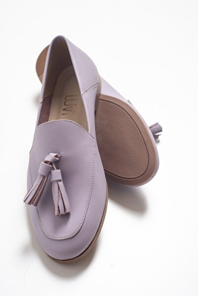 LuviShoes F04 Lila Cilt Hakiki Deri Ayakkabı